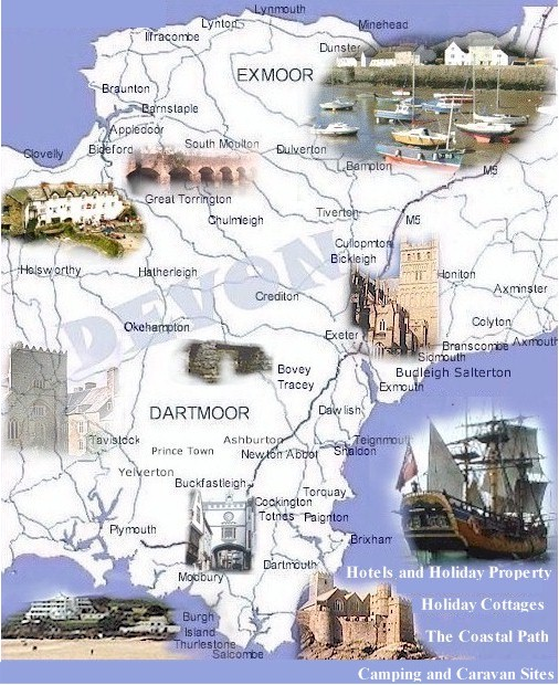 The devon map of towns and villages and devon attractions for The devon